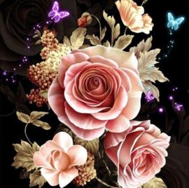 Diamond painting rozen met vlinder (45x45cm)(full)
