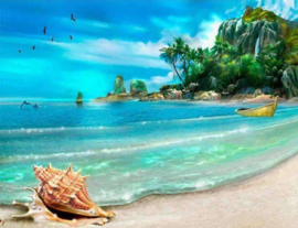 Diamond painting tropical beach (50x40cm)(full)