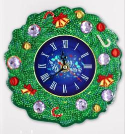 Diamond painting klok kerst (18x18cm)(full)