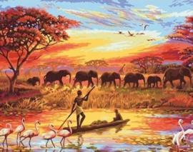 Diamond painting olifantjes op rij (65x50cm)(full)