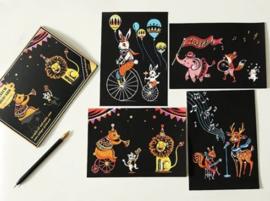 Schratch painting kaarten (4 stuks)(dieren)