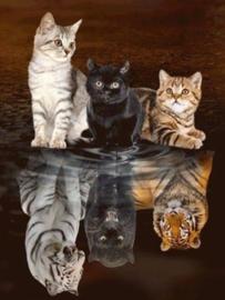 Diamond painting poes naar tijger/panter (70x50cm)(full)
