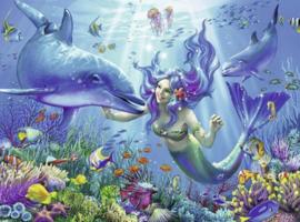 Diamond painting dolfijnen en zeemeermin (60x45cm)(full)