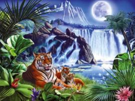 Diamond painting waterval tijgers (60x45cm)(full)