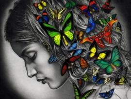 Diamond painting vlinder vrouw (60x45cm)(full)