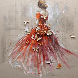 Diamond painting danseres rode jurk (50x50cm)(full)