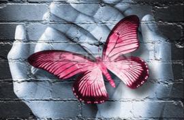 Diamond painting vlinder hand roze (50x35cm)