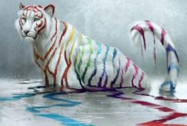 Diamond painting verf tijger (65x50cm)(full)