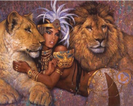Diamond painting leeuwen vrouw (50x40cm)(full)
