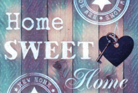 Diamond painting Home sweet home blauw (50x40cm)