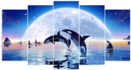 Diamond painting moonlight (5 luik)(2x15x30cm)(2x15x35cm)(1x15x40cm)