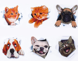 Diamond painting dieren stickers