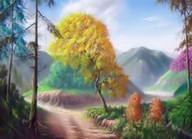 Diamond painting kleur bomen (70x50cm)(full)