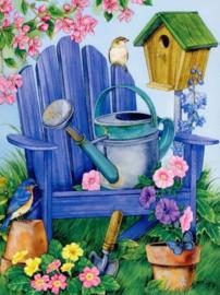 Diamond painting stoel met vogeltjes (60x45cm)(full)