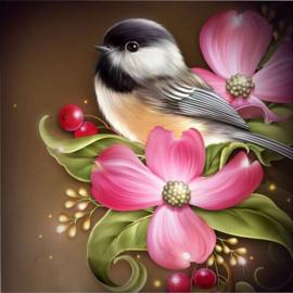 Diamond painting vogel op bloem (50x50cm)(full)