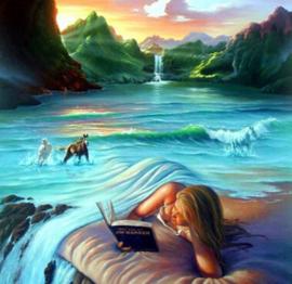 Diamond painting meisje in de zee (60x60cm)(full)