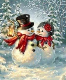 Diamond painting lieve sneeuwpoppen (60x45cm)(full)