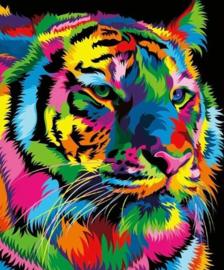Diamond Painting tijger gekleurd (30x20cm)full)