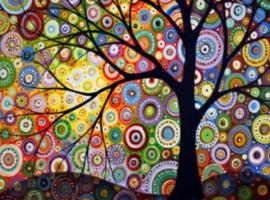 Diamond painting kleuren boom (75x50cm)(full)