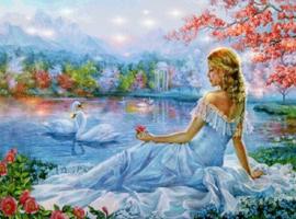 Diamond painting meisje met zwanen (80x60cm)(full)
