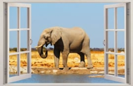 Diamond painting raamuitzicht olifant (60x40cm)(full)