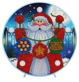 Diamond painting met ledverlichting kerstman (15x15cm)