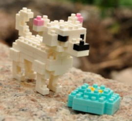 Diamond blocks hondje met voerbak (116 blokjes)