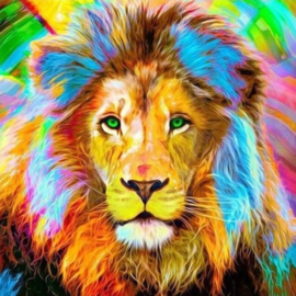 Diamond painting kleurige leeuw (40x40cm)(full)