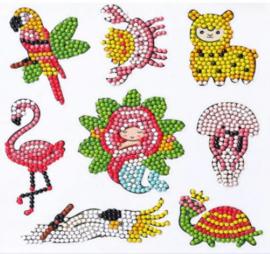 Diamond painting stickers (8 stuks)(dieren)