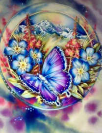 Diamond painting vlinder met bloemen (60x45cm)(full)