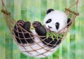 Diamond painting hangmat panda (70x50cm)(full)