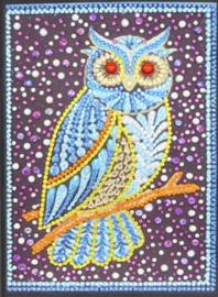 Diamond panting notitie boek uiltje blauw