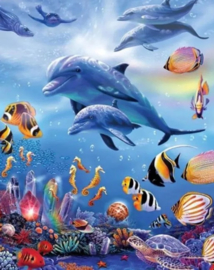 Diamond painting dolfijnen en vissen (60x45cm)(full)