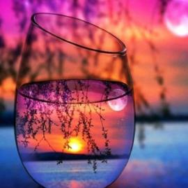 Diamond painting zonsondergang in glas (50x50cm)(full)