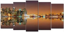 Diamond painting skyline (5 luik)(2x15x30cm)(2x15x35cm)(1x15x40cm)