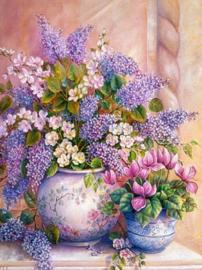 Diamond painting vaas met bloemen (50x40cm)(full)