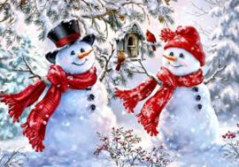 Diamond painting lieve sneeuwpoppen (50x40cm)(full)