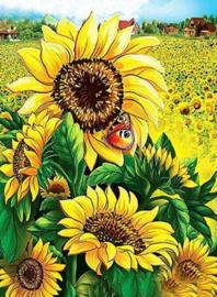 Diamond Painting zonnebloemen (25x15cm)(full)(ronde steentjes)