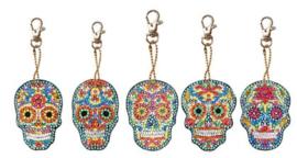 Diamond painting sleutelhangers skulls