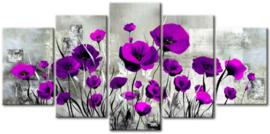 Diamond painting mooie paarse bloemen (5 luiken)(2x15x24cm)(2x15x32cm)(1x15x40cm)(full)(ronde steentjes)