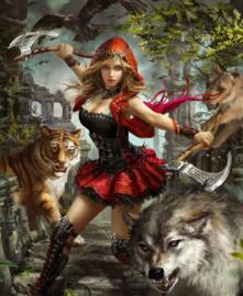 Diamond painting red girl (60x40cm)(full)