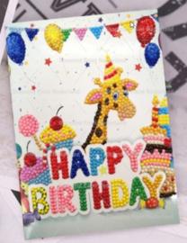 Verjaardags kaart giraf (per stuk)