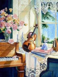 Diamond painting prachtige viool (60x45cm)(full)