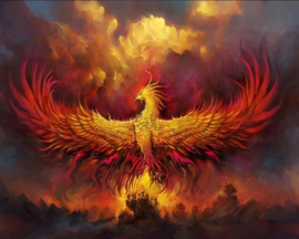 Diamond painting fire phoenix (65x50cm)(full)