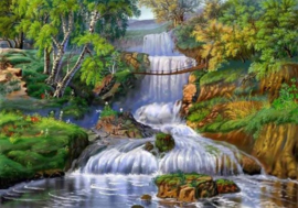 Diamond painting mooie waterval (60x45cm)(full)