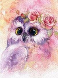 Diamond painting roze uiltje (60x45cm)(full)