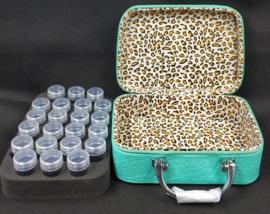 Prachtige koffer met 22 opbergdoosjes (blauw)