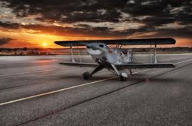 Diamond painting vliegtuig zonsondergang (60x40cm)