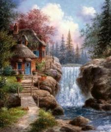 Diamond painting huis met waterval (80x60cm)(full)