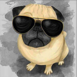 Diamond painting sunglass dog (15x15cm)(full)